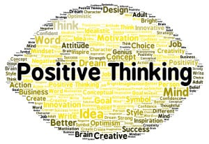 Positive thinking word cloud shape